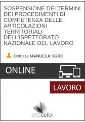 Sospensione dei termini dei procedimenti di competenza delle articolazioni territoriali dell'ispettorato nazionale del lavoro
